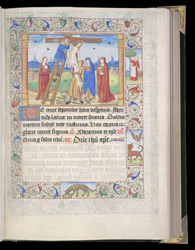 Illuminated Initial And Border Vignette Of The Visitation, In A Book Of Hours